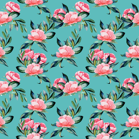 Seamless pattern with watercolor red peonies and green leaves, hand drawn on a turquoise background