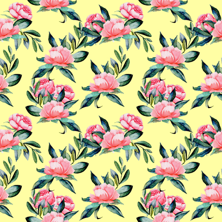 Seamless pattern with watercolor red peonies and green leaves, hand drawn on a yellow background