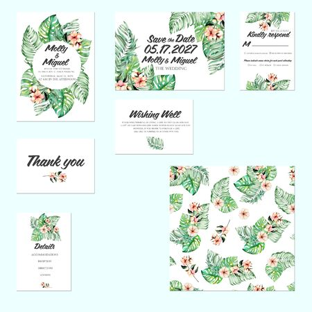 Template cards set with watercolor palm leaves and exotic flowers; Wedding design for invitation, Save the date card, RSVP, Thank you card, Wishing Well card, for anniversary day Stok Fotoğraf