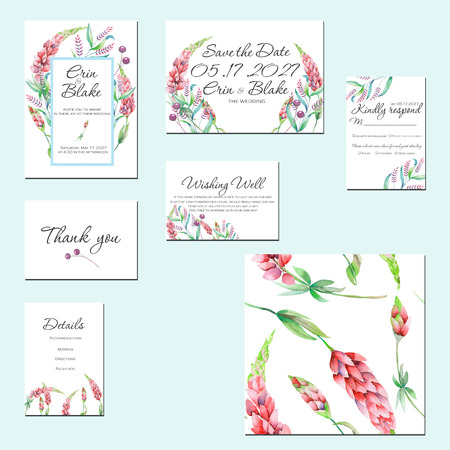 Template cards set with watercolor lupine flowers and other wildflowers; Wedding design for invitation, Save the date card, RSVP, Thank you card, Wishing Well card, for anniversary day