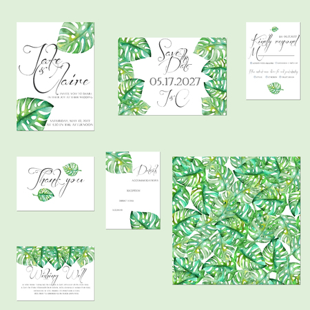 Template cards set with watercolor monstera leaves; Wedding design for invitation, Save the date card, RSVP, Thank you card, Wishing Well card, for anniversary day