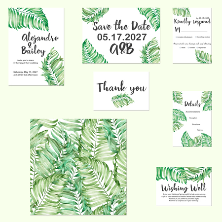 Template cards set with watercolor palm leaves; Wedding design for invitation, Save the date card, RSVP, Thank you card, Wishing Well card, for anniversary day Stok Fotoğraf