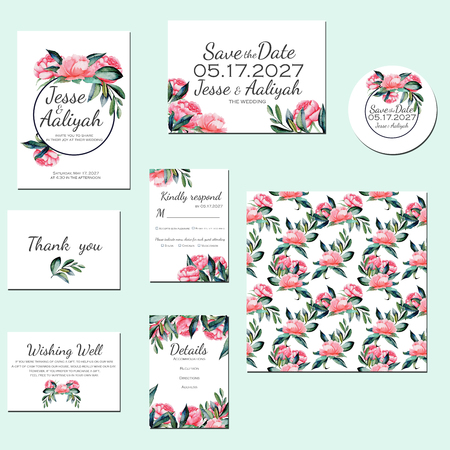 Template cards set with watercolor red peonies; Wedding design for invitation, Save the date card, RSVP, Thank you card, Wishing Well card, for anniversary day