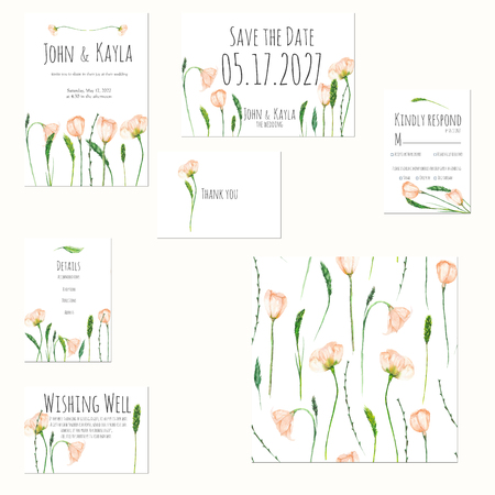 Template cards set with watercolor spring pink wildflowers; Wedding design for invitation, Save the date card, RSVP, Thank you card, Wishing Well card, for anniversary day
