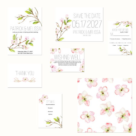 Template cards set with watercolor spring pink apple tree flowers; Wedding design for invitation, Save the date card, RSVP, Thank you card, Wishing Well card, for anniversary day