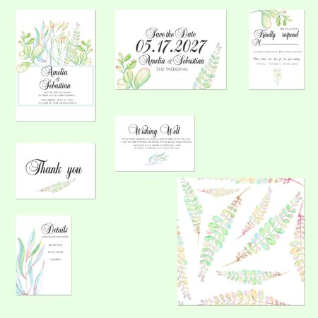 Template cards set with tender watercolor mint and green branches; Wedding design for invitation, Save the date card, RSVP, Thank you card, Wishing Well card, for anniversary day Stok Fotoğraf