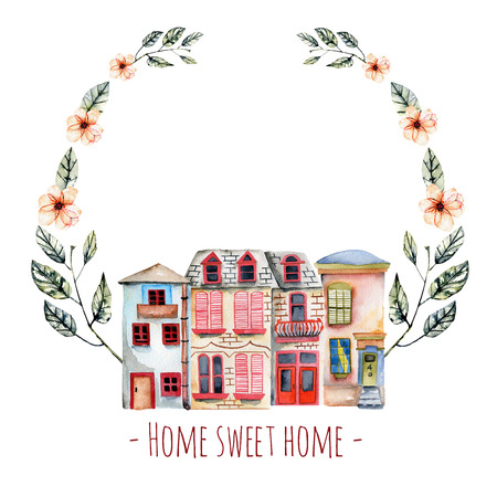 Floral wreath with watercolor english houses, with an inscription  Home sweet home , hand painted isolated on a white background