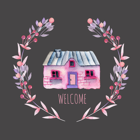 Watercolor cartoon house in the background of a wreath in a purple and pink shade, hand painted isolated on a dark background