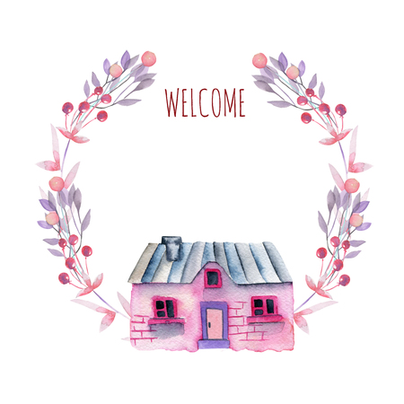Floral wreath with watercolor cartoon private house in purple and pink shades, hand painted isolated on a white background