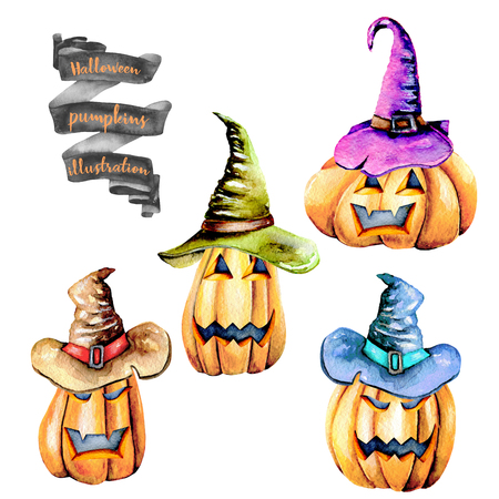 Set of watercolor Halloween pumpkins in old hats, hand painted isolated on a white background Lizenzfreie Bilder