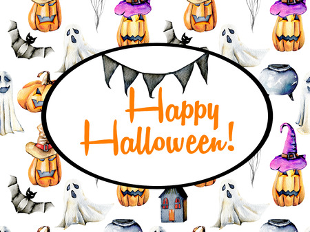 Card template, oval frame on watercolor Halloween background, hand painted on a white background