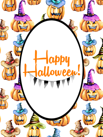 Card template, oval frame on watercolor Halloween pumpkins background, hand painted on a white background Lizenzfreie Bilder