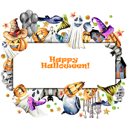 Card template, frame from watercolor Halloween objects (pumpkins in old hats, spooks, skull, pot and other), hand painted on a white background Lizenzfreie Bilder