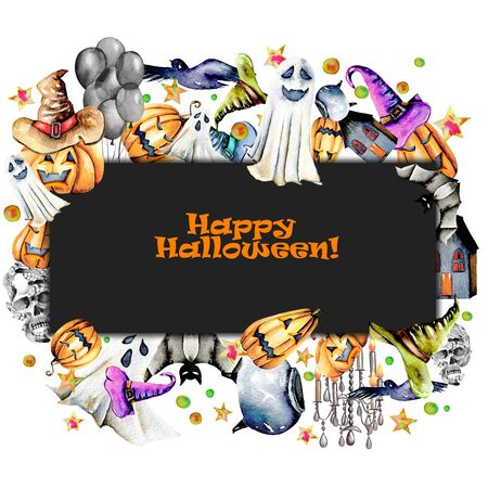 Card template, frame from watercolor Halloween objects (pumpkins in old hats, spooks, skull, pot and other), hand painted on a dark and white background