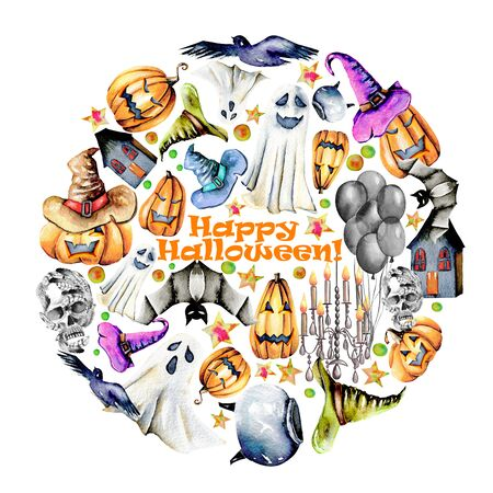 Circle illustration from watercolor Halloween objects (pumpkins in old hats, spooks, skull, pot and other), hand painted on a white background Lizenzfreie Bilder