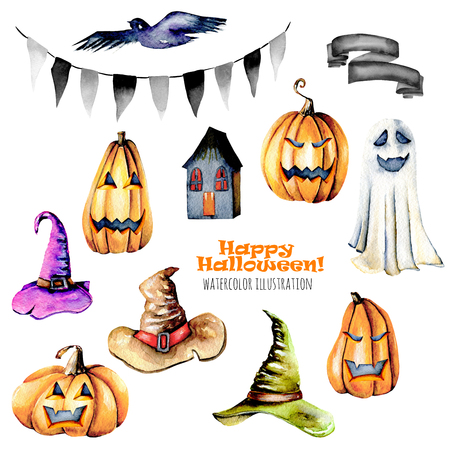 Set of watercolor Halloween objects (pumpkins and old hats, spooks, black bird and other), hand painted isolated on a white background