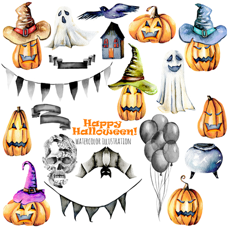 Set of watercolor Halloween objects (pumpkins in old hats, spooks, skull, pot and other), hand painted isolated on a white background