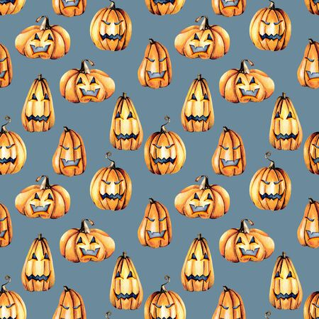 Seamless pattern with watercolor Halloween pumpkins, hand painted isolated on a blue background