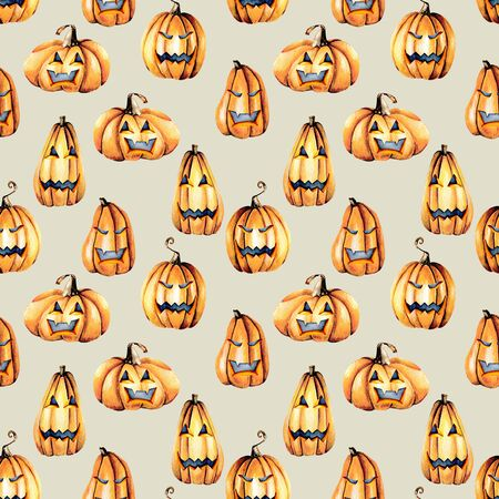 Seamless pattern with watercolor Halloween pumpkins, hand painted isolated on a gray background Lizenzfreie Bilder