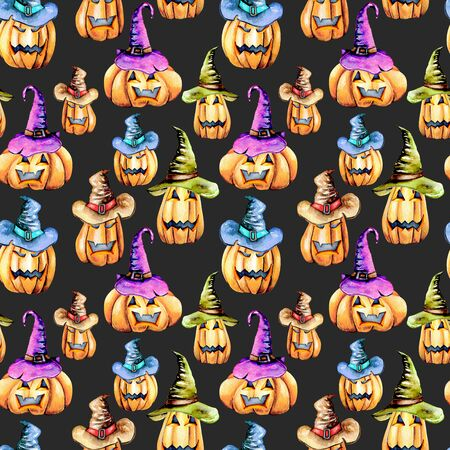 Seamless pattern with watercolor Halloween pumpkins in old hats, hand painted isolated on a dark background Lizenzfreie Bilder