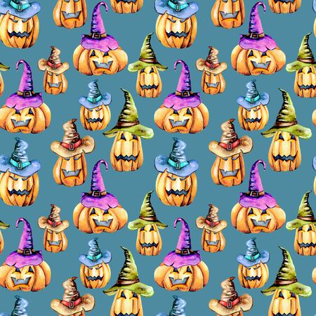 Seamless pattern with watercolor Halloween pumpkins in old hats, hand painted isolated on a blue background