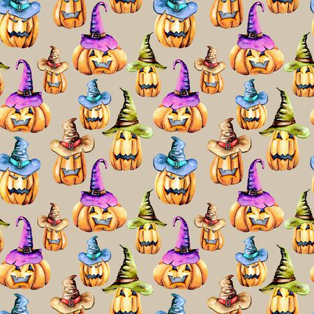 Seamless pattern with watercolor Halloween pumpkins in old hats, hand painted isolated on a gray background
