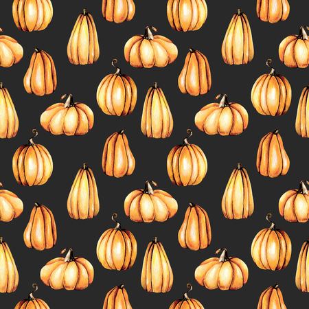 Seamless pattern with watercolor pumpkins, hand painted isolated on a dark background