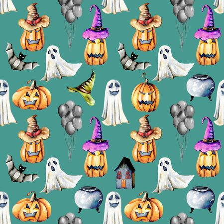 Seamless pattern with watercolor Halloween objects (pumpkins in old hats, spooks, skull, pot and other), hand painted isolated on a dark green background Lizenzfreie Bilder