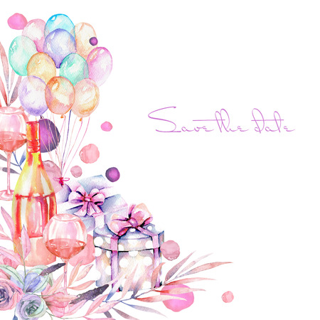 champagne celebration: Holiday card template with watercolor gift box, air balloons, champagne bottle, wine glasses and floral elements in pink and purple shadows, hand painted on a white background