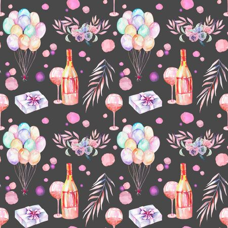 aria: Holiday seamless pattern with watercolor gift boxes, air balloons, champagne bottles, wine glasses and floral elements in pink and purple shadows, hand painted on a dark background Stock Photo