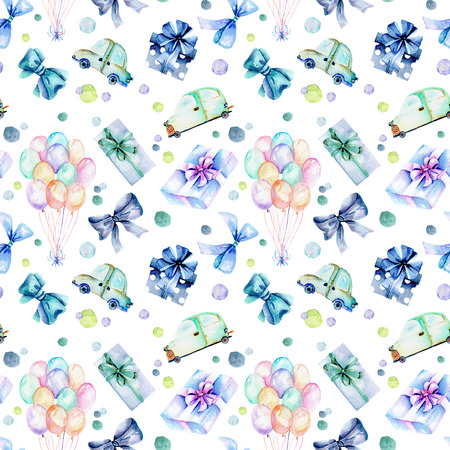 green day baby blue background: Holiday seamless pattern with watercolor gift boxes, air balloons, cars and bows in blue shadows, hand painted on a white background