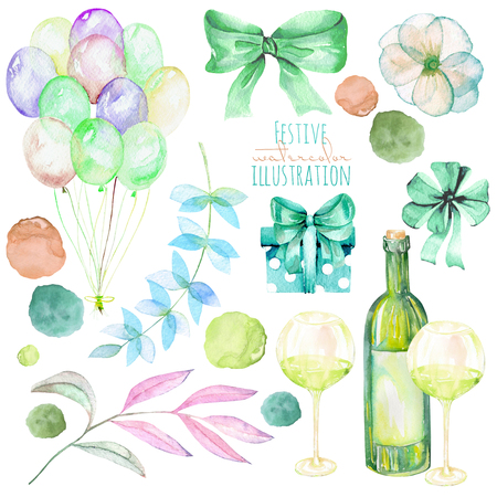 romantic date: Holiday set of watercolor gift box, air balloons, champagne bottle, bows, wine glasses and floral elements in green shadows, hand painted isolated on a white background Stock Photo