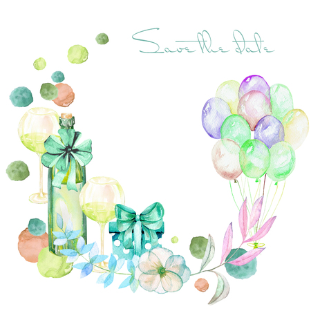romantic date: Holiday wreath with watercolor gift boxes, air balloons, champagne bottle, wine glasses and floral elements in green shadows, hand painted on a white background
