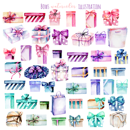Set of watercolor gift boxes, hand painted isolated on a white background Stockfoto