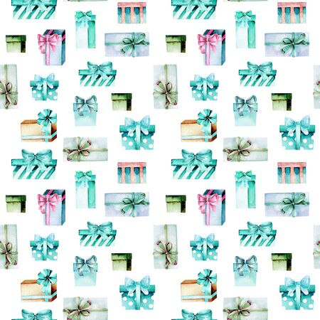 Seamless pattern with watercolor green and mint gift boxes, hand painted on a white background