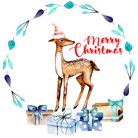 Christmas blue wreath with watercolor deer and gift boxes, hand painted on white background, place for your text Stock Photo