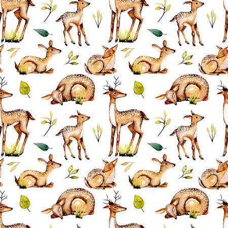 Suluboyağlı geyikler, bebek geyik ve çiçek unsurları ile sorunsuz desen, el boyalı beyaz arka planda izole
