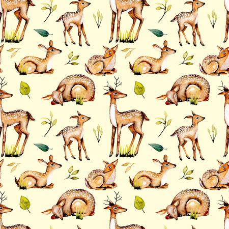 Suluboyağlı geyikler, bebek geyik ve çiçek unsurları ile sorunsuz desen, bej arka planda izole elle boyanmış