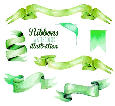 Set, collection of watercolor green ribbons, hand painted isolated on a white background