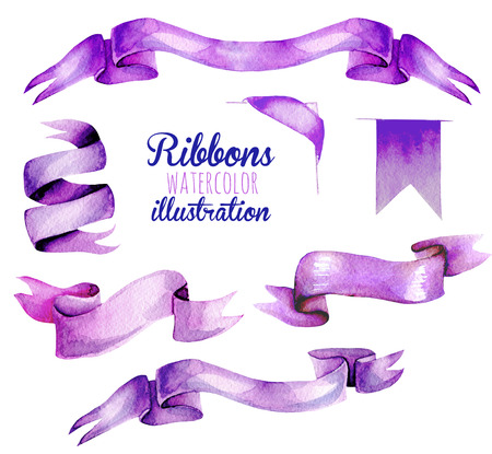 Set, collection of watercolor purple ribbons, hand painted isolated on a white background