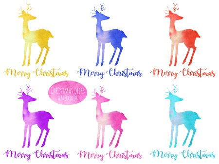 Set, collection of watercolor colorful deer silhouettes illustration, hand painted isolated on a white background