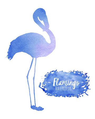 Akvarell kék flamingó sziluett illusztráció, kézzel festett elszigetelt fehér alapon