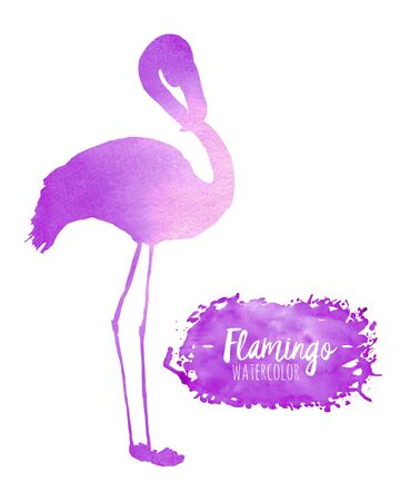 Watercolor purple flamingo silhouette illustration, hand painted isolated on a white background Stock Photo