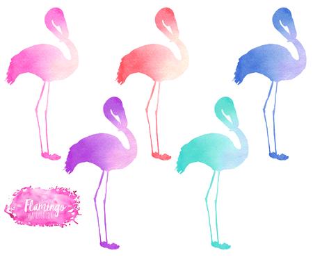 Kurmak, suluboya flamingo siluetleri resimleme, el boyalı, beyaz bir arka plan