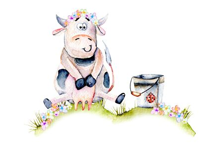 Su balığı, sevimli karikatür inek kova yakınında bir çayır üzerinde oturan, böcek ve basit çiçekler illüstrasyon, el çizilmiş beyaz bir arka plan üzerinde