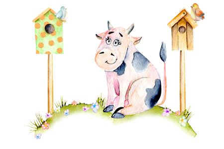 Suluboya, sevimli, karikatürize inek, çayır, kuluçka süresi, kuş evleri, küçük kuşlar ve basit çiçekler illüstrasyon, elle çizilmiş izole beyaz arka plan Stok Fotoğraf