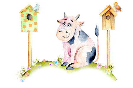Watercolor cute cartoon cow sitting on a meadow near the bird houses, small birds and simple flowers illustrations, hand drawn isolated on a white background Stock fotó