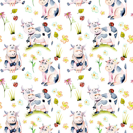 ladybird: Seamless pattern with watercolor cute cartoon cows, ladybugs and simple flowers illustrations, hand drawn isolated on a white background