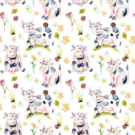 Suluboya ile dikişsiz desen sevimli karikatür inekler, böcekler ve basit çiçekler illüstrasyon, el çizilmiş beyaz bir arka plan üzerinde çizilmiş Stok Fotoğraf