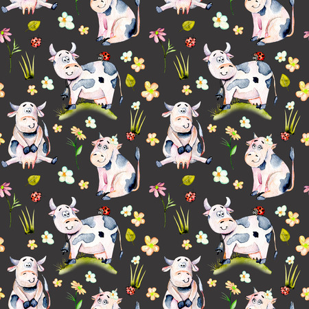 Seamless pattern with watercolor cute cartoon cows, ladybugs and simple flowers illustrations, hand drawn isolated on a dark background Stock fotó